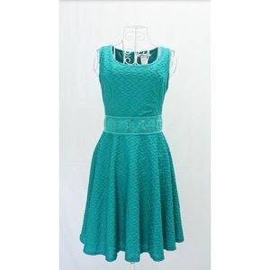 Teal/Turquoise Crocheted Cut-Out Patterned Dress